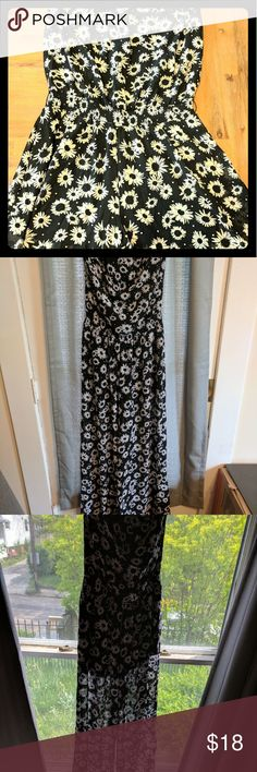 Daisy-Print Chiffon Jumpsuit Black and White Worn once, adorable halter jumpsuit! Great for spring!   Wide leg shear pants with black shorts underneath.  Light and flowy! WANT AND NEED Dresses Strapless