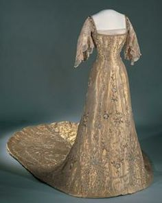 Gown worn by Queen Maud of Norway at her coronation.  (She was born Princess Maud of Wales, daughter of the future King Edward VII and Queen Alexandra.)