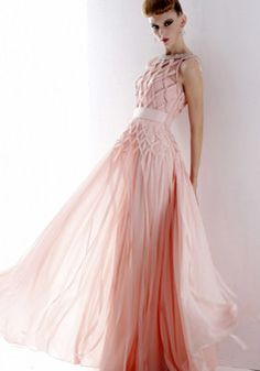 Pink Tencel A-line Boat Neck Sleeveless Criss Cross Crystal Draped Up With Floor Length Evening Dress