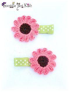 Pink Sunflower   crochet hair clips  girls hair by Snugglebugkidz, $7.99