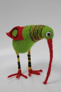 Green Bird with stripy legs by Ruthfully on Etsy
