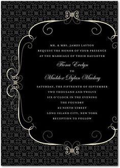 Signature White Wedding Invitations Fascinating Flourish - Front : Charcoal