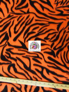 "#Orange #Zebra Anti-pill #Fleece Fabric 60"" Width Sold By The Yard"