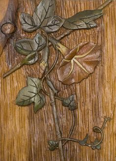 Rohwer Camp, Wood Carving   Morning Glory  Pine wood carving, painted and varnished  1942-1945