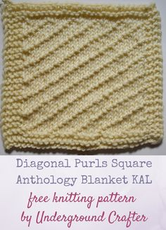 """Diagonal Purls Square, free knitting pattern in Cascade 220 Superwash yarn by Underground Crafter   This traveling stitch pattern creates textured diagonal lines on a stockinette background. It's one of 30 free knitting patterns for 6"""" (15 cm) squares in the Anthology Blanket knit-a-long."""