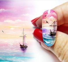 Monogram Nails, Sculpted Gel Nails, Sunset Nails, Palm Tree Nails, Sea Nails, Airbrush Nails, Romantic Nails, Vacation Nails, Nagel Gel