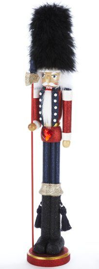 Skinny Black Furry Hat Tall Wooden Christmas Nutcracker