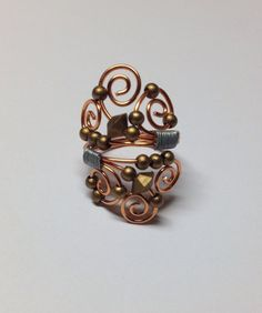 Beaded Copper Wrapped Ring