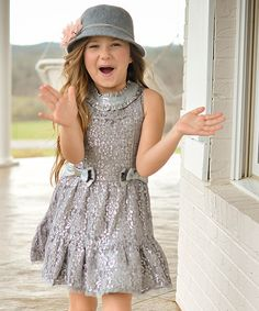 Look at this Trish Scully Child Silver Bow Lace Dress - Toddler & Girls on #zulily today!