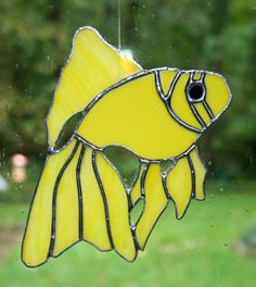 Stained+Glass+Yellow+Fish+Suncatcher+by+Imakeglass+on+Etsy,+$25.00