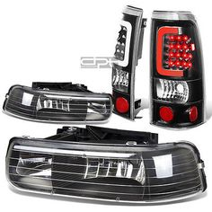FOR 99-02 SILVERADO BLACK CRYSTAL HEADLIGHTCORNER3D LED BAR TAIL LIGHT/LAMP