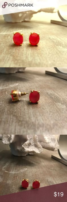 "Kate Spade style pink stone studs These were marked as Kate Spade on a previous posh, but I'm not sure if they are! They're a bright pink most like the first picture. Oval shape. Excellent used condition 1/2"" long by 1/3"" wide Jewelry Earrings"