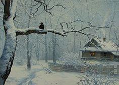 Winter Painting by Igor Ropyanyk Ukranian Artist ~                                                                                                                                                     More