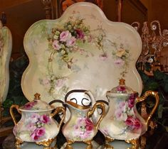 Limoges Gorgeous 4-Piece Rose Covered Tea Set: Tea Pot, Lidded Sugar, Creamer and tray