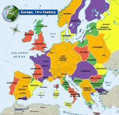 Map of Europe, 14th Century - from Mr. Colwell's 7th Grade World History Class