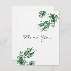 Shop Watercolor Pine Needles Thank You Card created by MartiGambaArt. Watercolor Birthday Cards, Watercolor Christmas Cards, Watercolor Cards, Watercolour, Xmas Cards, Diy Cards, Your Cards, Painted Christmas Cards, Calligraphy Cards