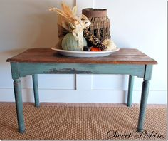 farm table-like the wood top with rustic painted bottom-do my desk this way??
