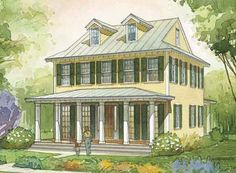 Looking for the best house plans? Check out the Center Hall Cottage plan from Southern Living. Southern Living House Plans, Colonial House Plans, Country House Plans, Cottage House Plans, Cottage Living, Cottage Homes, Best House Plans, Small House Plans, House Floor Plans