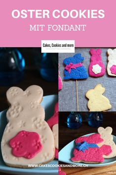 Baking for Easter, recipe for Easter bunny cookies. The Easter cookies are decorated with fondant. Easter Cookies, Diy Food, Cake Cookies, Brunch, Sweets, Desserts, Recipes, International Food, Chef