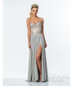 Please allow a 4 day handling time for this dress. A silver and nude mesh a-line gown featuring a strapless, crystal em....Price - $306.00-VttrMQ0Z