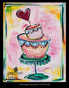 Funky Heart Cake Painting - Join us for our 3rd Valentine's Day Annual Single Ladies Event. It is the most fun thing in town!