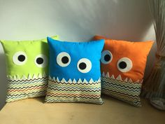 2016 - 4 Monster Cushions - designed and made by Jan