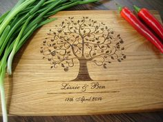 "Handmade Personalized Cutting Board. Cutting Board Lazer Engraved 10 x 15"". Ideal gift for wedding and useful  in every house. Choping block"