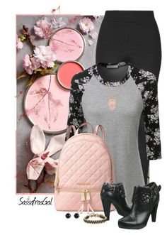 """""""Touch of Pink"""" by sassafrasgal ❤ liked on Polyvore featuring Topshop, LE3NO, MICHAEL Michael Kors, Talbots, John & Pearl and Irene Neuwirth"""
