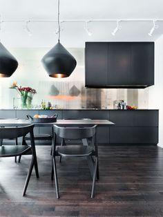 Matt black cabinets, gorgeous light. #Diningroomfurniture #diningroomtable #diningroomchairs dining room buffet,  dining room cabinets, dining room sideboard | See more at diningroomideas.eu
