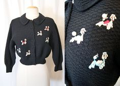Darling 1950's black virgin wool knit cardigan by wearitagain, $150.00