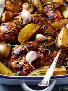 TRIED: Potatoes underdone (next time, cook on sheet pan by themselves drizzled with oil? ORIGINAL: Rosemary Roasted Chicken with Potatoes Rosemary Roasted Chicken, Roasted Chicken And Potatoes, Big Meals, One Pot Meals, Potato Recipes, Chicken Recipes, Side Dish Recipes, Dinner Recipes, Greek Cooking