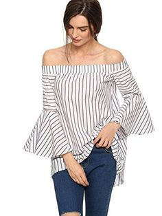 463972a6e9faaf SheIn Women s Off The Shoulder Bell Sleeve Striped Blouse at Amazon Women s  Clothing store