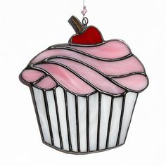 Stained glass cupcake suncatcher, stain glass pink cupcake ornament, birthday cake on Etsy