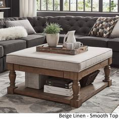 Shop Lennon Baluster Pine Storage Tufted Cocktail Ottoman by iNSPIRE Q Artisan - On Sale - Overstock - 13447193 - Beige Linen- Smooth Top Rustic Furniture, Luxury Furniture, Living Room Furniture, Home Furniture, Living Room Decor, Furniture Design, Antique Furniture, Furniture Outlet, Online Furniture