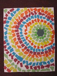 Circle collage  à faire avec des gommettes rondes, pour mes MS; ils  devraient adorer ça :)