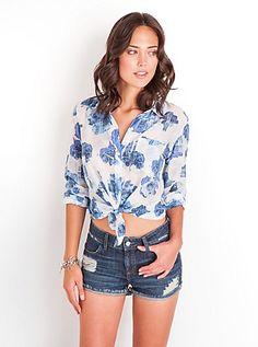 Cadence Rose-Print Shirt | GUESS.com