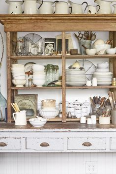 """This shelf, one of the first pieces we bought for the farmhouse, sits on top of…"