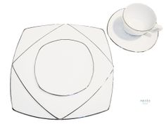 """Lotus Square White with Silver Border $0.60/piece (rental), Dinner Plate 11"""", Salad Plate 8"""", Bread and Butter 6"""", Coffee Cup, Saucer"""
