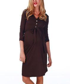 Brown Maternity & Nursing Three-Quarter Sleeve Dress - Women by PinkBlush Maternity #zulily #zulilyfinds
