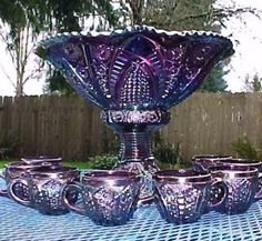 Wish I had one of these for graduation Heirloom Purple Punch Set Antique Glassware, Fenton Glassware, Antique Bottles, Vintage Bottles, Vintage Perfume, All Things Purple, Purple Stuff, Punch Bowl Set, Punch Punch