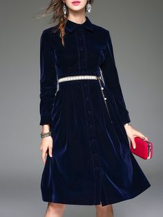 Navy Blue Buttoned A-line Casual Midi Dress by ELENYUN