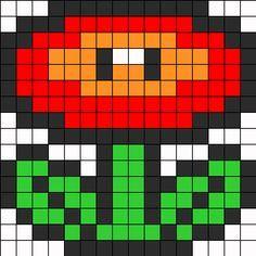 Mario Flower Perler Bead Pattern | Bead Sprites | Characters Fuse Bead Patterns