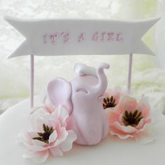 Baby Shower Cake Topper   Pink Baby Girl Elephant   by LavaGifts, $40.00