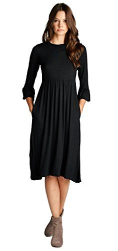 1ee77970ce8b1 Tabeez Women's Babydoll Jersey Midi Dress With Ruffle Sleeves (Extra Large,  M. at Amazon Women's Clothing store:
