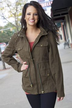 WE SALUTE YOU military jacket in dark olive. Its  BACK ! ! ! This super cute little jacket is back in stock at Jules Boutique… so warm!!