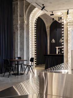Gallery of Bosco Mishka Bar / Sundukovy Sisters Architecture & Design Studio - 18 Interior Design Minimalist, Bar Interior Design, Minimalist Furniture, Cafe Design, Mirrors And Marble, Futuristic Interior, Dimmable Light Bulbs, Home Studio, Design Firms