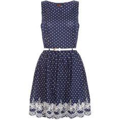 Yumi Polka dot dress ($68) ❤ liked on Polyvore