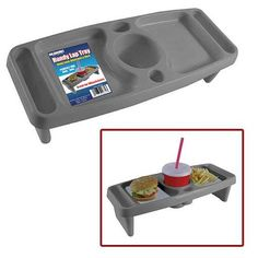 Wheelchair Lap Tray - we have one similar to this from Hobby Lobby but the cup in the center of this one might make it more sturdy for lap travel - THE LINK DOES NOT GO TO A VALID PRODUCT PAGE THIS IS JUST FOR THE IDEA
