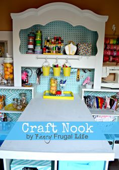 Old Headboard to Craft Nook  by fancy frugal life