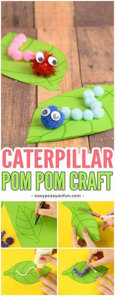 Adorable Caterpillar Pom Pom Craft For Kids #craftsforkids #Springcrafts #activitiesforkids